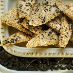 Sesame and flax crackers