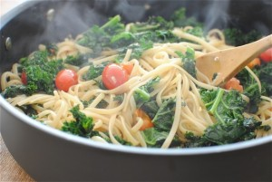 linguinie with kale and tomatoes via BevCooks | Kale University