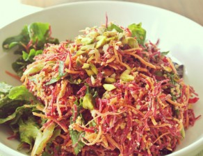 Carrot Beet Angel Hair Pasta with Spicy Pine Nut and Pistachio Pesto