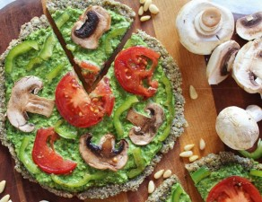 Raw Vegan Pizza with Spinach, Pesto, and Marinated Vegetables