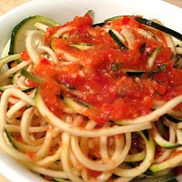 Raw Zucchini Noodles With Marinara